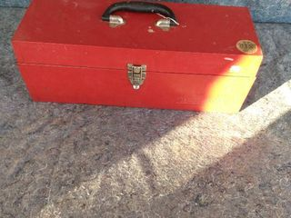 metal all American tool box with contents