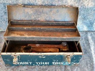 metal tool box with some contents