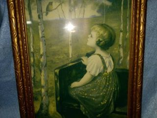 antique girl with bluebird picture