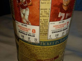 1993 chiefs decoupage box with various articles and players