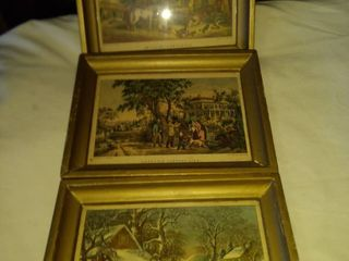 three vintage courier and Ives prints