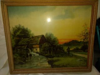 antique watermill print