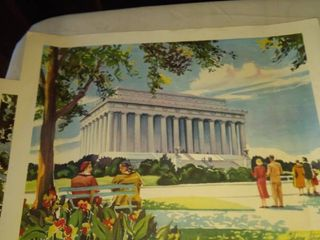 Mary Stover watercolor prints one Washington s mansion one lincoln memorial