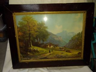 antique farm print beautiful wood frame