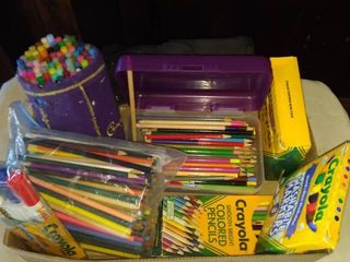 lots and lots of colored pencils crayons and markers