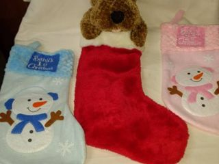 musical reindeer stocking and two new baby s first Christmas stockings