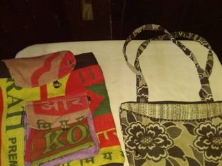 feed sack backpack and small purse