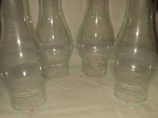 four glass oil lamp chimneys