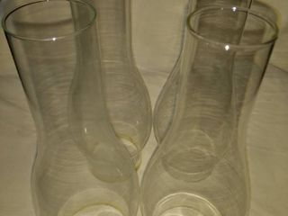 second lot four glass oil lamp chimneys