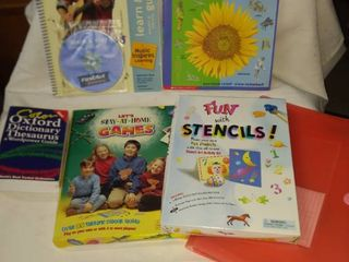 box of let s stay at home games box of fun with stencils learn and play guitar book dictionary thesaurus and a new binder keeper