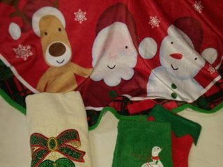 Christmas tree skirt and two hand towels
