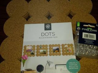 four bulletin board tiles and push pins new in package