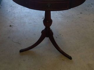 antique footed table with original hardware