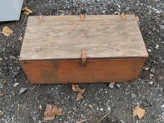 wood box with hinged lid and hasp 32 in wide 16 in deep 13 in tall
