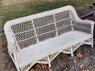 wicker bench no cushions 68 in wide 26 in deep 35 in tall