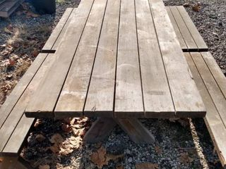 8 foot wood picnic table with four 4 ft benches and two 2 ft benches