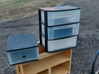 1 Rubbermaid drawer and 3 sterilite drawers