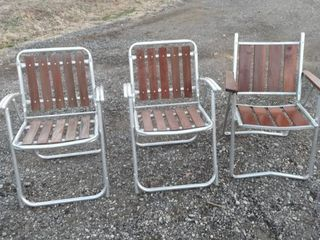 3 wood and aluminum folding chairs