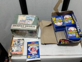 mixed card lot including sealed box of pro set desert Storm 16 1988 Fleer wax packs 1989 score wax pack and a  88 donruss subset