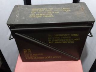20MM metal cartridge box 18 and 1 2 in long 8 and 1 2 in wide 15 in tall
