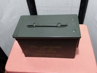 45 caliber metal ammunition box 11 and 1 2 in long 6 in wide 7 in tall