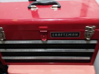 3 drawer Craftsman tool box with contents including Craftsman s tools