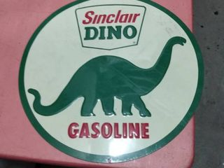 10 3 4 inch Tin Sinclair Dino gasoline round sign