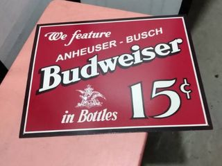 16 in x 12 in metal Budweiser sign