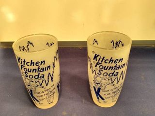 2 vintage kitchen fountain soda glasses