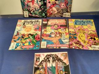 6 comics that consist of 2 Scarlet witch  3 the infinity crusade and  1 if you battle of the planets
