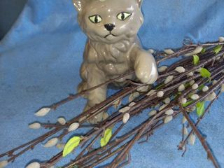 ceramic Kitty and pussy willows