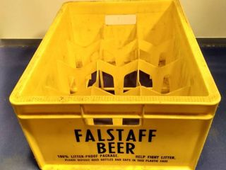 empty Falstaff beer plastic 12 pack case
