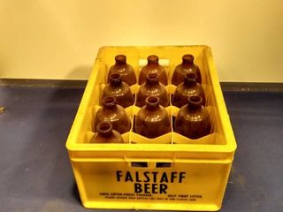 plastic Falstaff beer case with 10 bottles