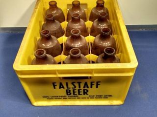 plastic Falstaff beer case with 12 bottles