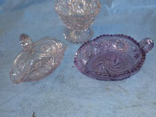 three candy dishes one purple
