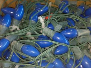 vintage blue exterior Christmas lights