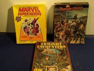 3 role playing games do not know if they are complete 2 twilight 2000 and 1 marvel superheroes
