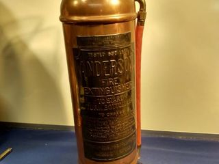 vintage brass and copper Anderson fire extinguisher turned into a lamp needs new switch