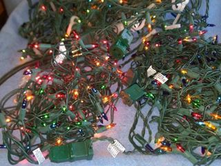 three sets multicolor Christmas lights all working