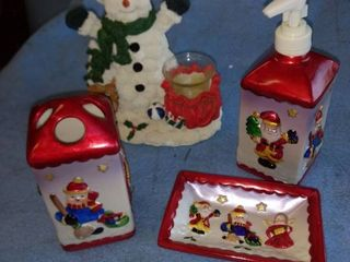 Christmas toothbrush holder soap dish and soap dispenser and snowman