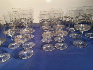 2 2 cocktail glasses with gold color rims around them 8 tall 8 mediums 6 round glasses