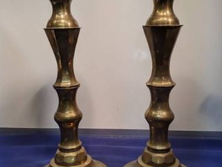 vintage 1950s large brass candlesticks