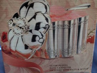 silver plated bath canister includes baths salts and scoo new inbox