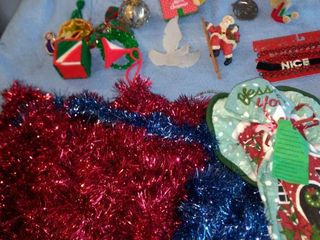 various Christmas ornaments garland and tea towel