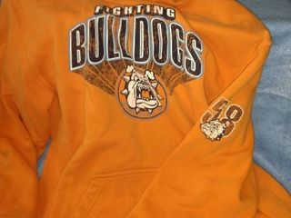 fighting bulldogs number 58 orange hoodie extra large