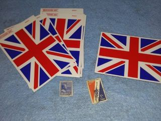 two stamps and flag decals