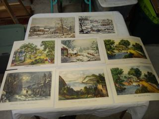 8 vintage prints some courier and Ives