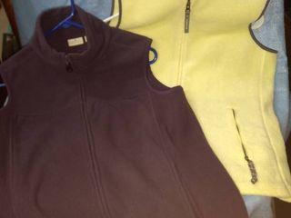 old Navy yellow vest size large everyday purple vest size medium both fleece