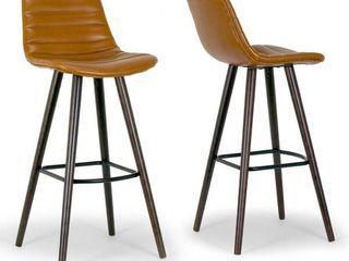 Set of 2 Alden Caramel Brown Bar Stool with Beech legs