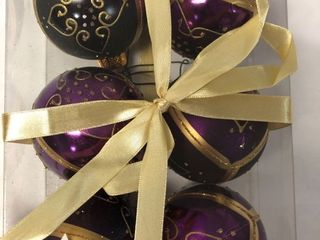 6 Pack of Purple Gold Shatterproof Christmas Ornaments